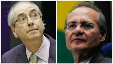 """Renan Calheiros e Eduardo Cunha: os dois líderes do PMDB nacional podem ser """"usados"""" contra Iris Rezende em Goiânia"""