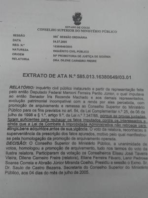 Primeira página do Inquérito Civil Público arquivado em 2004 por não comprovação das acusações
