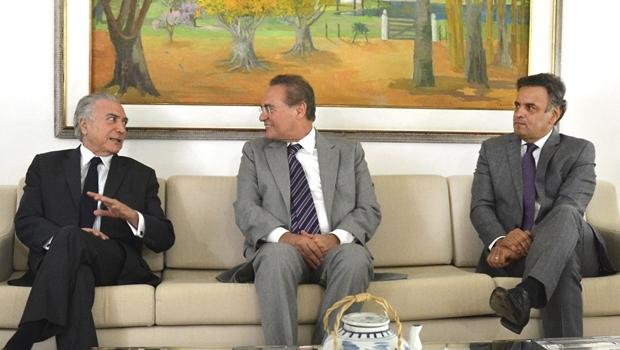Michel Temer, Renan Calheiros e Aécio Neves | Foto: Antônio Cruz / ABr