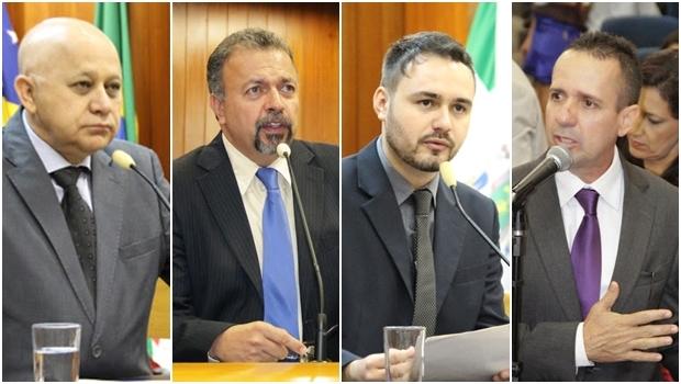 Vereadores Djalma Araújo, Elias Vaz, Mizair Lemes Jr. e Geovani Antônio | Fotos: Alberto Maia e Eduardo Nogueira / Câmara Municipal de Goiânia