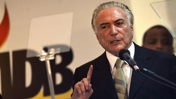 O vice-presidente da República e presidente nacional do PMDB, Michel Temer, participa do Congresso da Fundação Ulysses Guimarães e do PMDB, em Brasília (José Cruz/Agência Brasil)