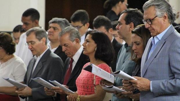Reitor da PUC Goiás, Wolmir Amado (PT); Iris Rezende, Célia Valadão e Wellington Peixoto (todos do PMDB), Gracinha e Ronaldo Caiado (DEM)
