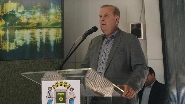 Prefeito Paulo Garcia durante apresentação da programação da Tocha Olímpica em Goiânia | Foto: Larissa Quixabeira