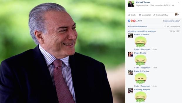 """No dia da votação do impeachment, internautas promovem """"vomitaço"""" na página de Temer"""