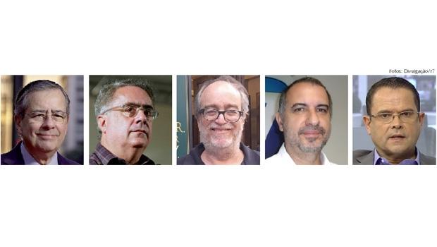 Paulo Henrique Amorim, Luís Nassif, Paulo Nogueira, Luiz Carlos Azenha e Sidney Rezende: os cinco jornalistas  são do primeiro time, mas se engajaram politicamente numa espécie de Rede Petista de Comunicação