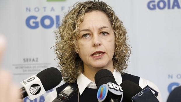 Ana Carla Abrão durante entrevista na Sefaz   Foto: divulgação Sefaz