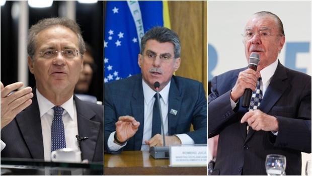 Os três também são acusados por Sergio Machado de receber R$ 70 milhões em propina | Fotos: Jefferson Rudy/Agência Senado (Renan), José Cruz/ Agência Brasil (Romero) e Wendel Lopes/ PMDB (Sarney)
