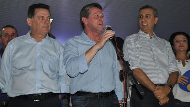 O governador Marconi Perillo (PSDB) e o vice-governador José Eliton (PSDB) defenderam Giuseppe Vecci (PSDB) como candidato da base | Foto: Goiano Sidney