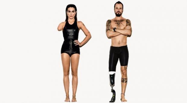 Cléo Pires e Paulo Vilhena: publicidade chama a atenção da sociedade para os Jogos Paraolímpicos/criação da agência África e da revista Vogue