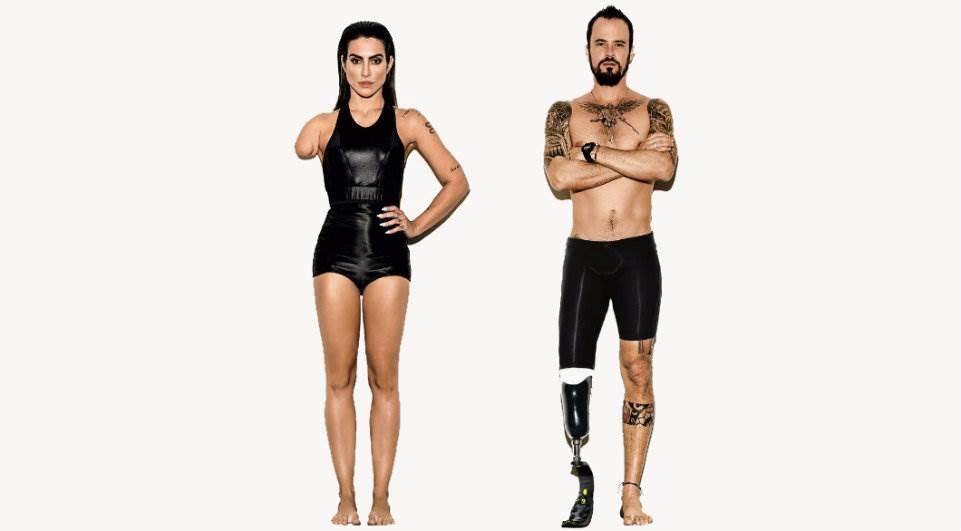 Cléo Pires sem um braço e Paulo Vilhena sem uma perna chamam a atenção para as Paraolimpíadas