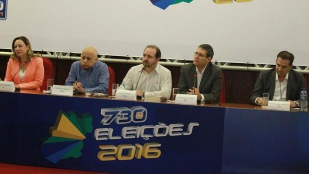 Candidatos Adriana Accorsi, Djalma Araújo, Flávio Sofiati, Francisco Jr. e Vanderlan Cardoso | Foto: Leoiran