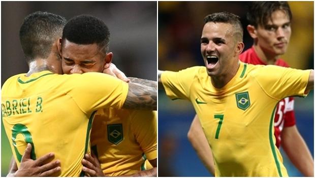 Gabriel Barbosa e Gabriel Jesus e Luan marcaram os gols da seleção olímpica do Brasil   Foto: reprodução / Twitter CBF