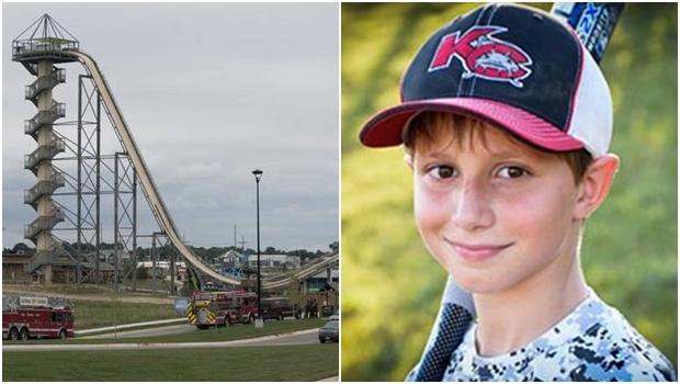 À esquerda, Verrückt, o maior toboágua do mundo. À direita, foto da vítima, de apenas 12 anos | Imagens: Reprodução