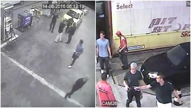 Imagens mostram os atletas num posto de gasolina e saindo de uma festa uma festa na Lagoa, na Zona Sul do Rio: ao saírem disseram ter sido assaltados