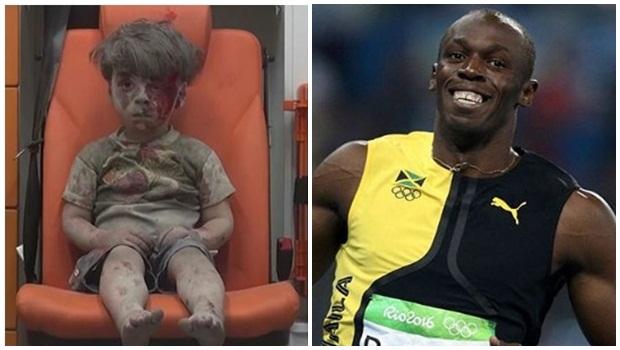 Sorriso de Usain Bolt e tristeza do menino Omran celebram o mesmo: a vitória da vida sobre a morte