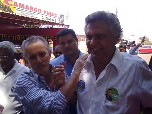 Victor Priori e Ronaldo Caiado: o candidato a prefeito de Jataí pode ser uma bola fora do senador do DEM | Foto: da campanha de Victor Priori