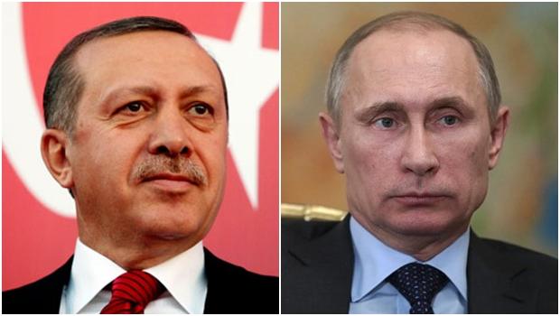 Presidente da Turquia, Recep Erdogan, e o presidnete da Rússia, Vladimir Putin: vão ser parceiros agora? | Fotos: The Telegraph