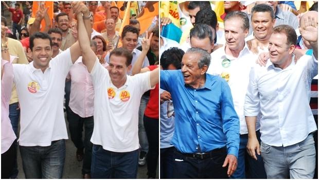 Vanderlan e Iris durante últimas caminhadas de campanha | Fotos: divulgação e Paulo José