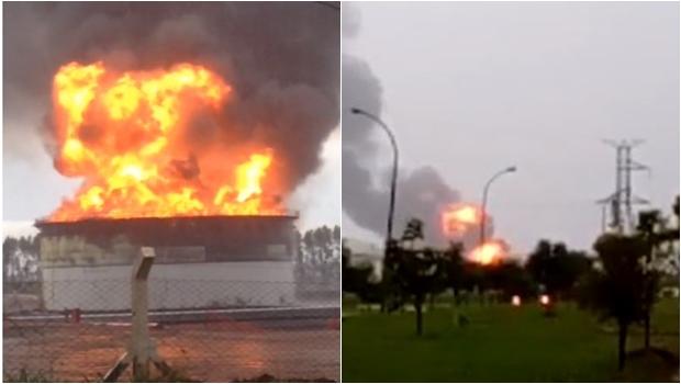 Explosão em tanque de combustível provoca incêndio de grandes proporções em Jataí