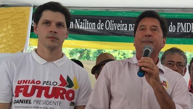 Maguito Vilela e Daniel Vilela: pai e filho, prefeito de Aparecida de Goiânia e deputado federal   Foto: Alexandre Parrode