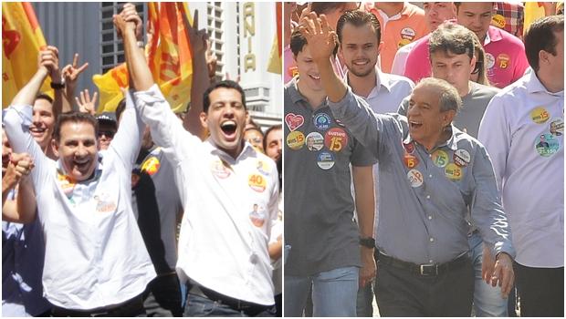 Vanderlan Cardoso e o vice, Thiago Albernaz; e o candidato do PMDB, Iris Rezende | Fotos: reprodução