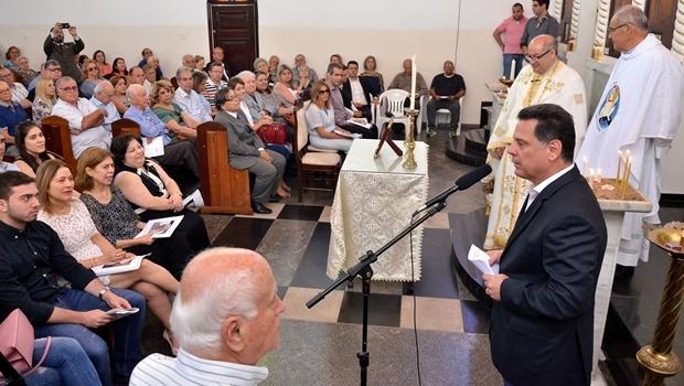 Marconi durante a missa de Luiz Rassi    Foto: Eduardo Ferreira
