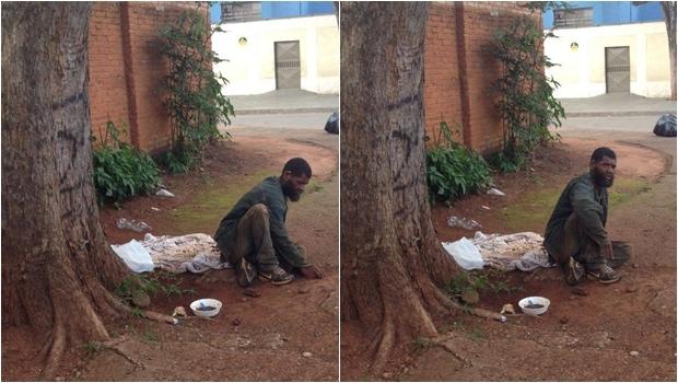 Homem não aceita comida e se alimenta do lixo | Foto: Reprodução / Facebook
