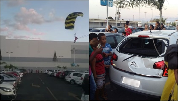 Papai noel paraquedista erra local de pouso e colide com carro em shopping