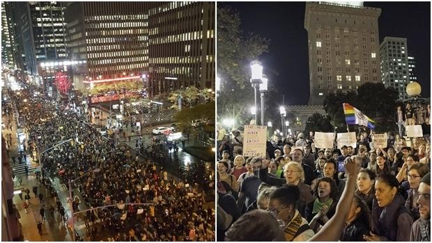 Manifestações em Nova York e em Oakland, na Califórnia | Fotos: reprodução/ Twitter