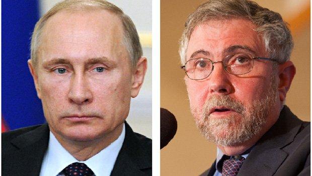 Vladimir Putin e Paul Krugman: o presidente da Rússia teria influenciado a eleição americana, para prejudicar Hillary Clinton e beneficiar Donald Trump. Já o economista de Princeton parece não perceber que a China, do ponto de vista econômico, é o país que ameaça os Estados Unidos