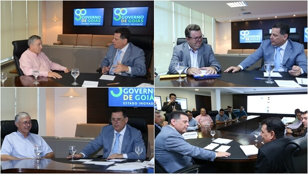 Marconi recebeu os prefeitos de Quirinópolis, Gilmar Alves (PMDB); Paranaiguara, Adalberto dos Santos (PSDB); Aragoiânia, Nauginel Antunes do Prado (PSDB) e Uruana, Cássio Gusmão de Oliveira (PMDB) | Fotos: Henrique Luiz