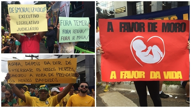 Cartazes mostram a incongruência de pauta entre os manifestantes