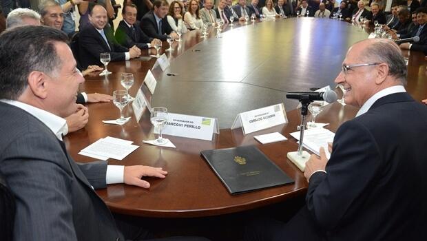 """Alckmin faz parcerias com Brasil Central e diz que Marconi é """"governador da inovação"""""""