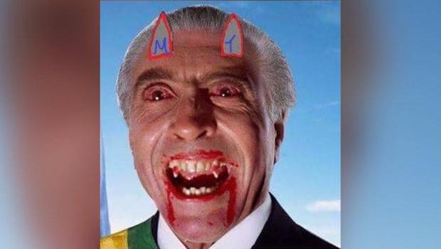 Servidor da Câmara cria alvoroço ao incluir slide de Temer com chifres de diabo em palestra