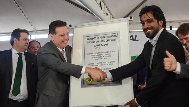Marconi e empresários lançam pedra fundamental de indústria de armas em Anápolis