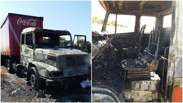 Caminhão da Coca-Cola pega fogo em rodovia de Goiás