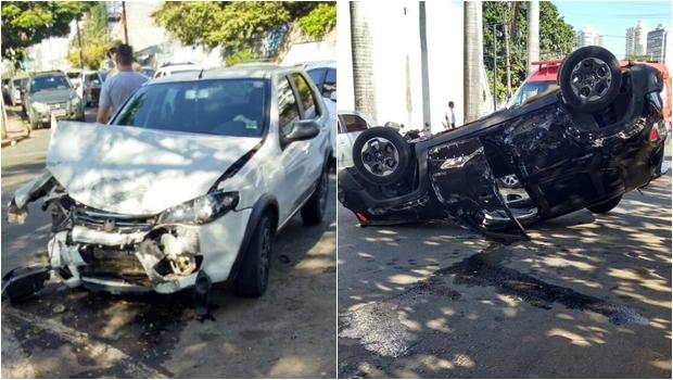 Colisão entre veículos fere uma pessoa e deixa trânsito lento em Goiânia