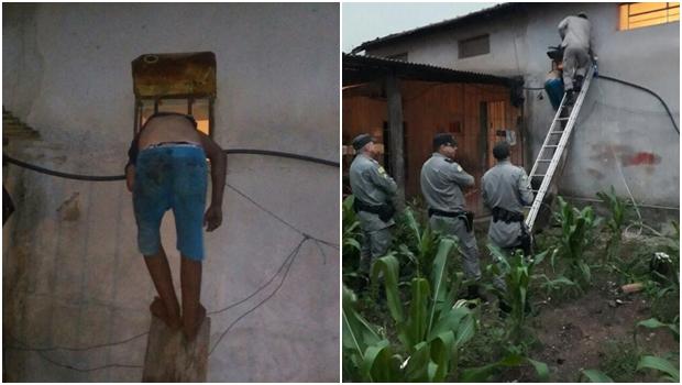 Suspeito acaba entalado durante tentativa de furto no interior de Goiás