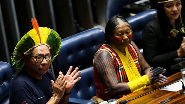 Índios são recebidos no Senado em comemoração ao seu dia