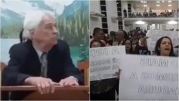Fiéis exigem expulsão de pastor, que agarra altar e se recusa a sair. Veja vídeo