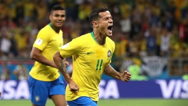 Brasil sai na frente no 1º tempo com golaço de Philippe Coutinho