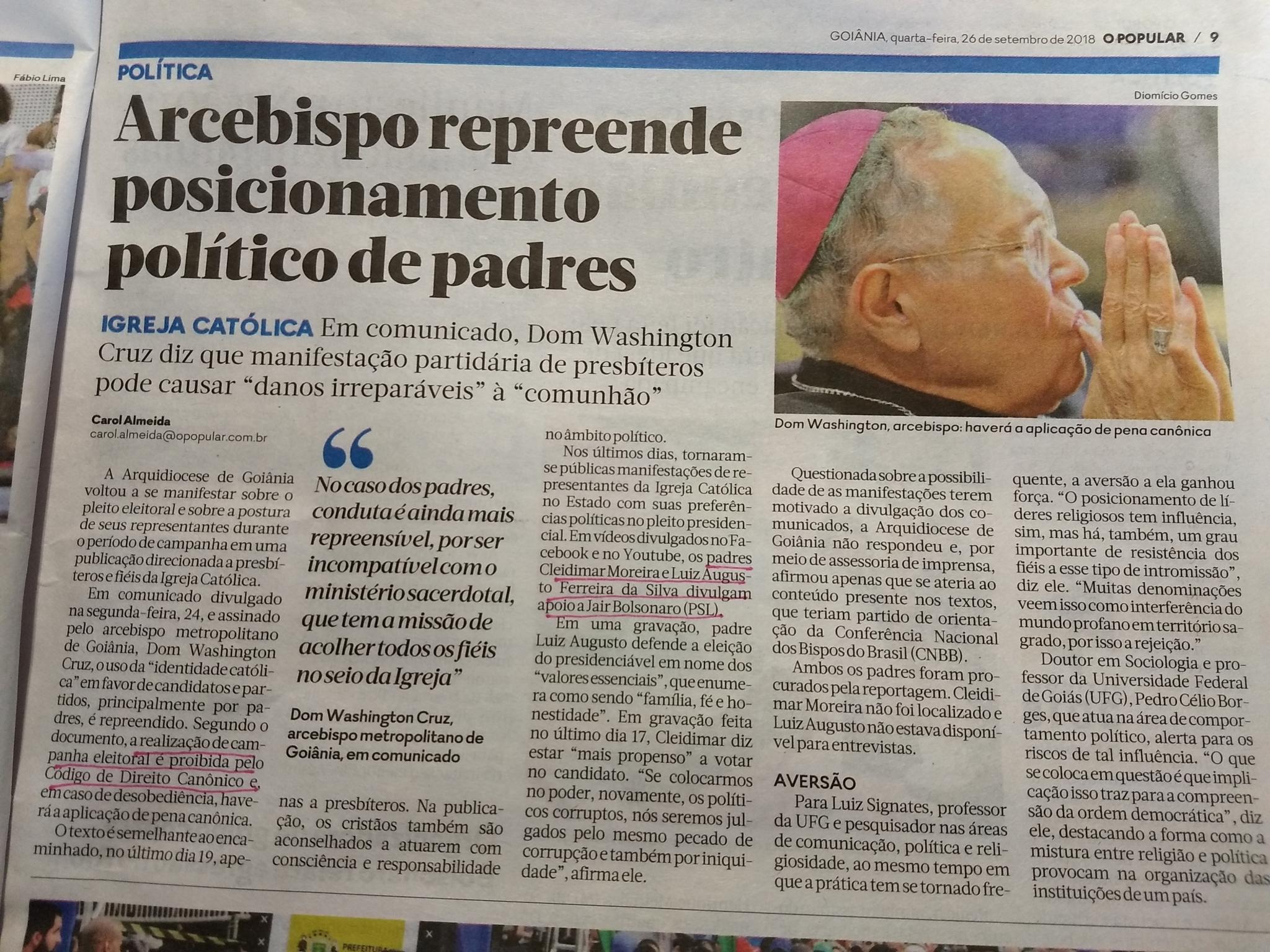 O Popular crucifica só padres que apoiam Jair Bolsonaro