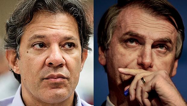 CNT/MDA: Bolsonaro tem 57% dos votos válidos, contra 43% de Haddad