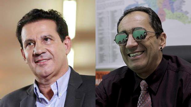 Vanderlan Cardoso e Kajuru bebem o vinho da paz e o segundo diz que não disputa prefeitura