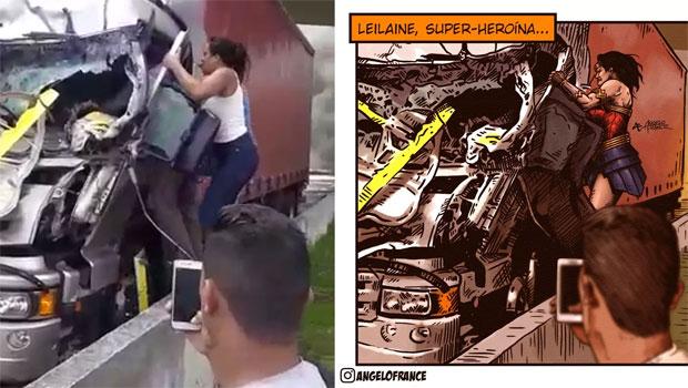 Ilustrador homenageia mulher que prestou socorro em acidente com helicóptero de Boechat