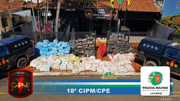 Polícia Militar apreende quatro toneladas de maconha em Jataí