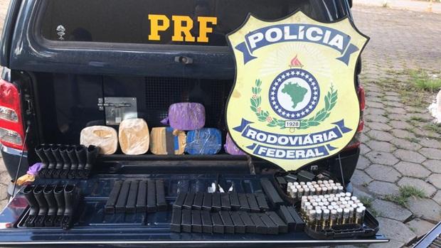 PRF detém motorista que seguia do Paraguai para Goiânia com armas e drogas