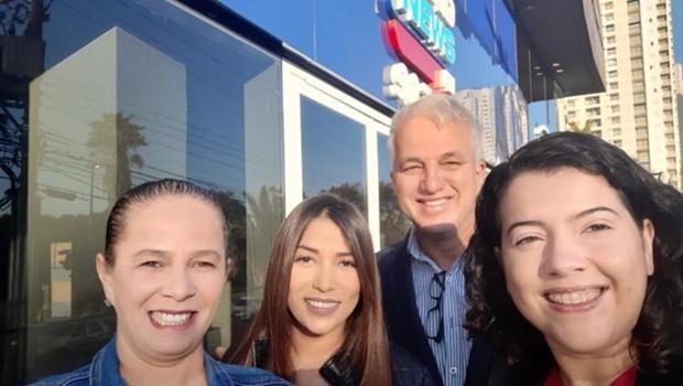 Flávia Vinhal, Josiane Coutinho, Marcos Cipriano e Clênia Marques: equipe da BandNews Goiânia | Foto: Facebook
