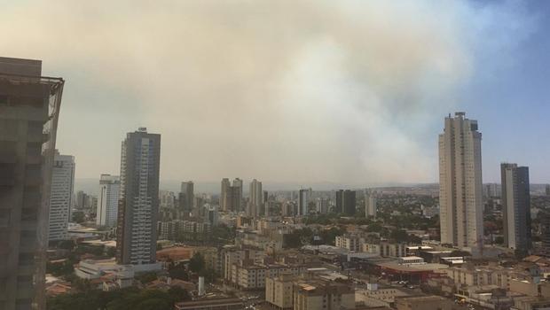 Céu de Goiânia é tomado por nuvem de fumaça devido a incêndio em parque ecológico