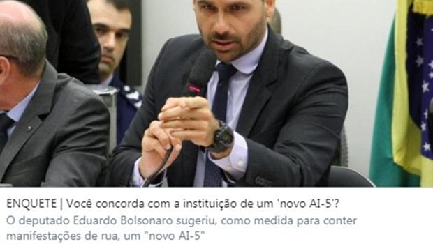 Jornal O Popular faz enquete sobre AI-5 na capa do site